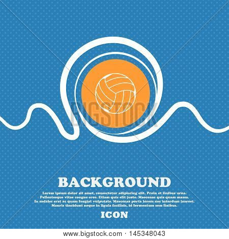 Volleyball Icon Sign. Blue And White Abstract Background Flecked With Space For Text And Your Design