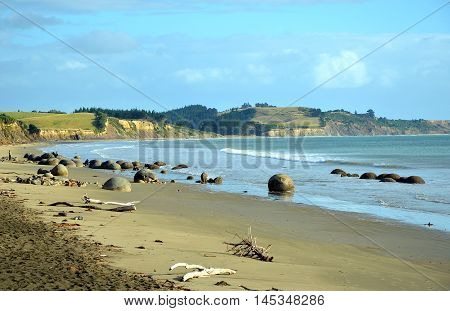 Moeraki boulders, unusual round rock formations on Koekohe Beach, Otago coast, New Zealand