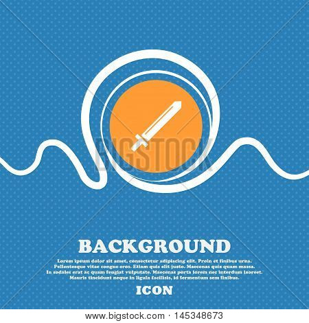Sword Icon Sign. Blue And White Abstract Background Flecked With Space For Text And Your Design. Vec