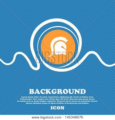 Spartan Helmet Icon Sign. Blue And White Abstract Background Flecked With Space For Text And Your De