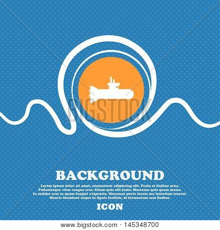Submarine Icon Sign. Blue And White Abstract Background Flecked With Space For Text And Your Design.