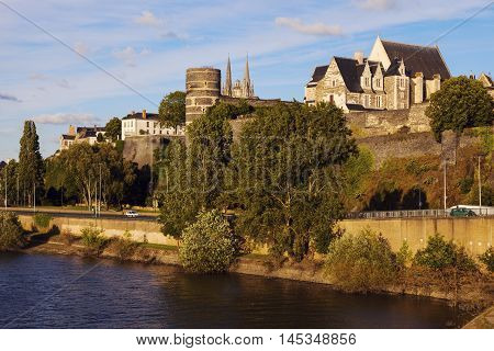 Angers panorama at sunset. Angers Pays de la Loire France