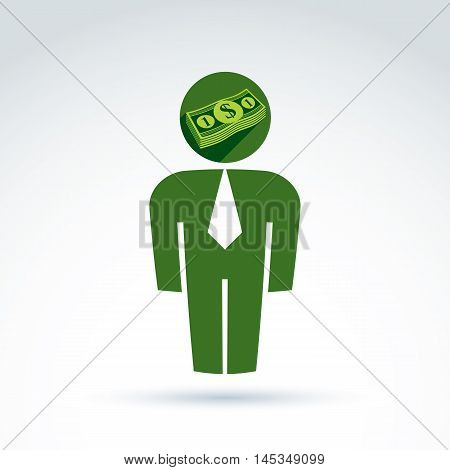 White collar business worker man icon with dollar sign conceptual vector symbol.