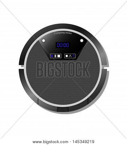 Robot vacuum cleaner with a touch screen. view from above.
