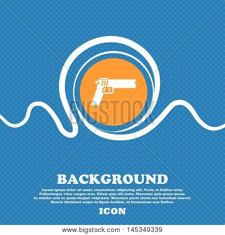 Gun Icon Sign. Blue And White Abstract Background Flecked With Space For Text And Your Design. Vecto