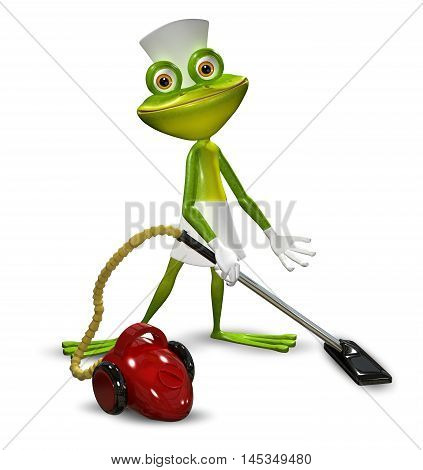 3d illustration of a frog with a maid red vacuuming