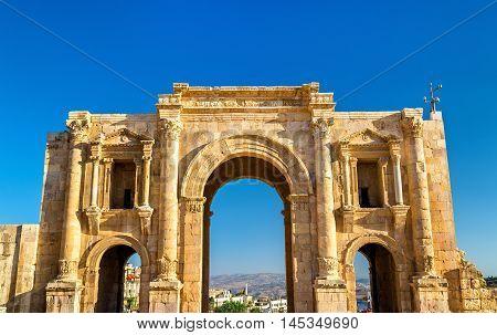 The Arch of Hadrian in Jerash, Jordan