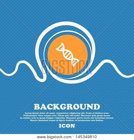 Dna Icon Sign. Blue And White Abstract Background Flecked With Space For Text And Your Design. Vecto