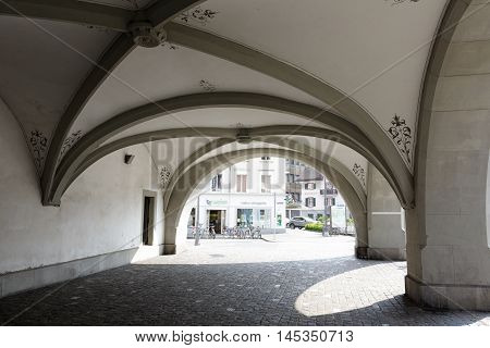 LUCERNE SWITZERLAND - MAY 02 2016: Arcades under which passes the leaving the Spreuer Bridge (Spreuerbrucke) on the left side of the river Reuss.