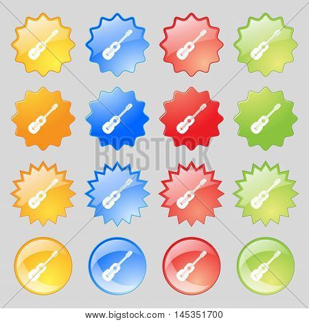 Acoustic Guitar Icon Sign. Big Set Of 16 Colorful Modern Buttons For Your Design. Vector