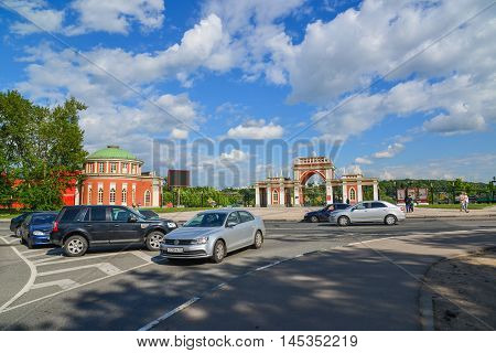 Moscow, Russia - June 08, 2016. Cars parked in front before Entrance to the museum-estate Tsaritsyno