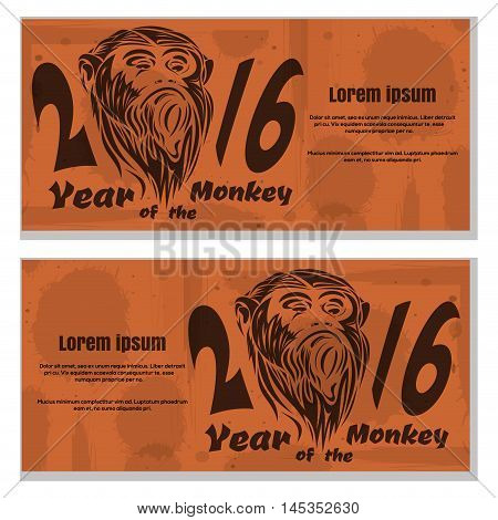 2016 - year of the monkey. Grunge retro vintage paper texture with spots. Vector template for flyers.