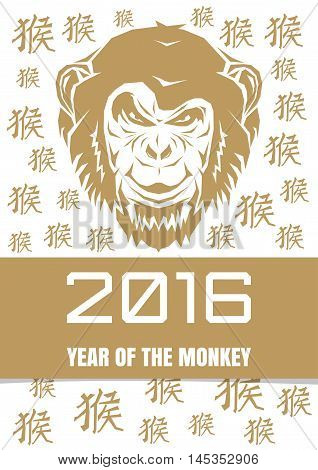 Gold monkey on a background with hieroglyphs. Chinese New Year monkey. Character monkey. 2016 year of the monkey. Vector illustration.