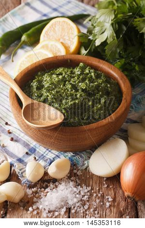 Argentine Chimichurri Sauce With Ingredients Close-up. Vertical