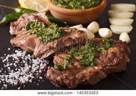 Argentine Cuisine: Grilled Beef Steak With Chimichurri Sauce Macro. Horizontal