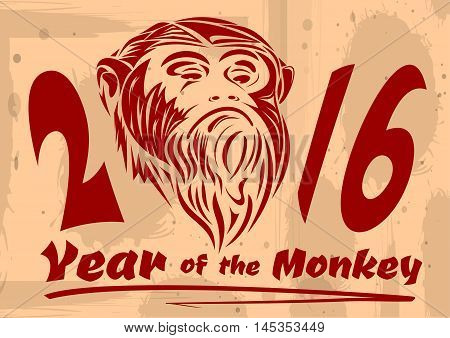 2016 - Year of the monkey on the Chinese calendar. Vector illustration of a red monkey on a vintage background.