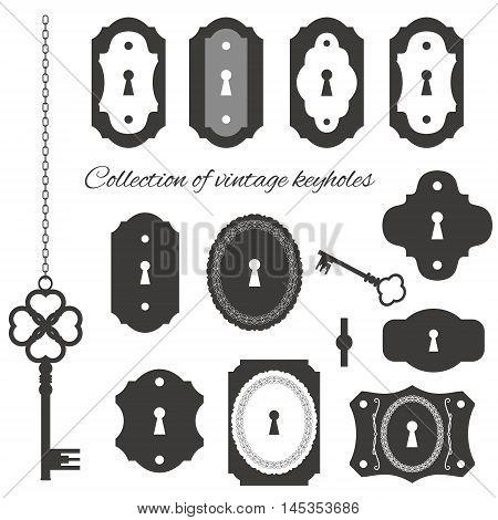 Vintage keyholes and keys set isolated on white.