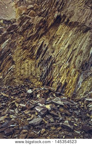 Basalt Rock Wall And Debris