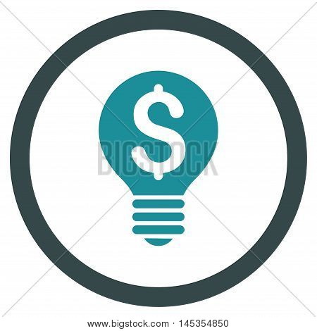 Business Patent Bulb vector bicolor rounded icon. Image style is a flat icon symbol inside a circle, soft blue colors, white background.