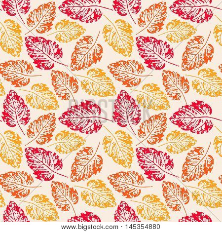 Seamless handcrafted pattern with autumn leaves. Vector seamless pattern. Bright autumn background. Vector grunge leaves