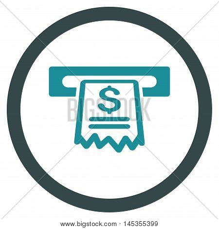 Cashier Receipt vector bicolor rounded icon. Image style is a flat icon symbol inside a circle, soft blue colors, white background.