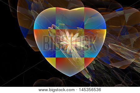multi colored heart fractal back ground image
