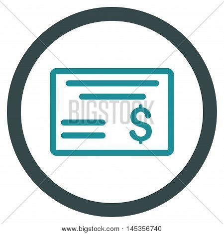Dollar Cheque vector bicolor rounded icon. Image style is a flat icon symbol inside a circle, soft blue colors, white background.