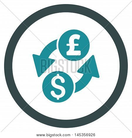 Dollar Pound Exchange vector bicolor rounded icon. Image style is a flat icon symbol inside a circle, soft blue colors, white background.