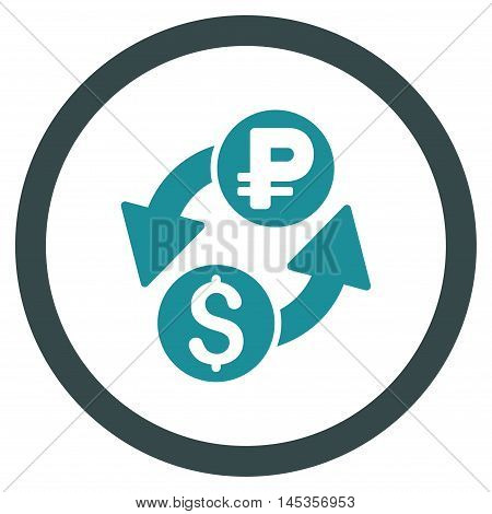 Dollar Rouble Exchange vector bicolor rounded icon. Image style is a flat icon symbol inside a circle, soft blue colors, white background.