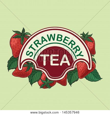 Strawberries, label for strawberry tea. tag, banner.