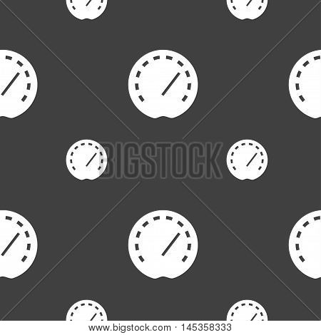 Speedometer Icon Sign. Seamless Pattern On A Gray Background. Vector