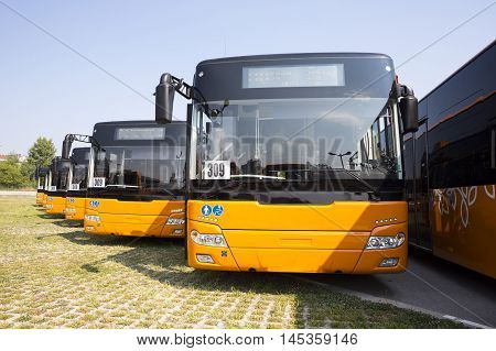 Sofia, Bulgaria - August 31, 2016: New modern busses for public transportation are shown in a row from the front in a parking lot.
