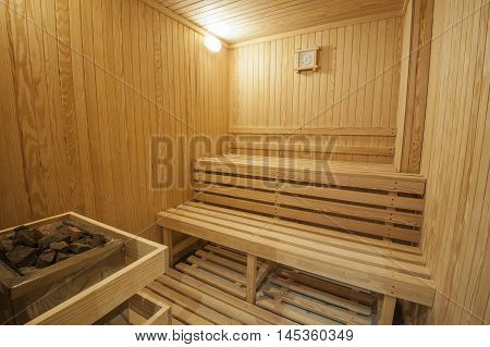 Interior detail of a sauna in luxury health spa beauty center
