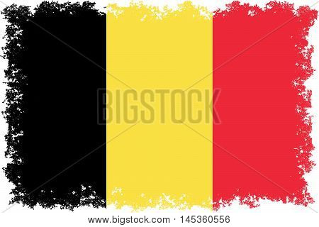 National flag of Belgium with distressed edges