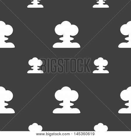 Explosion Icon Sign. Seamless Pattern On A Gray Background. Vector