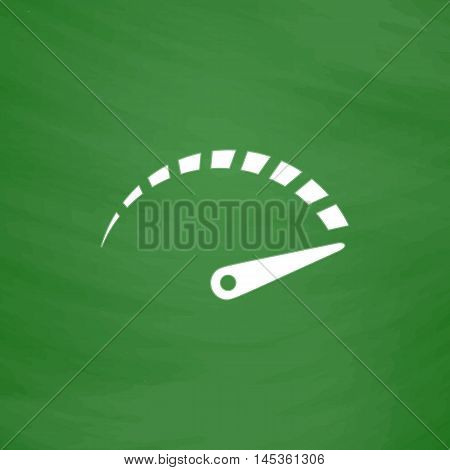 indicator Simple line vector button. Imitation draw with white chalk on blackboard. Flat Pictogram and School board background. Outine illustration icon