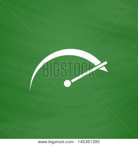 tachometer Simple line vector button. Imitation draw with white chalk on blackboard. Flat Pictogram and School board background. Outine illustration icon