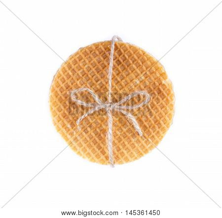 Stack Of Dutch Caramel Waffles Isolated. Strack Of Traditional Dutch Waffle Called Stroopwafel On Wa