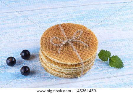 Stack of Dutch caramel waffles. Strack of Traditional Dutch waffle called Stroopwafel on.