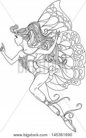 Hand drawn. Black and white vector illustration. Cartoon. Beautiful girl in the form of butterflies.