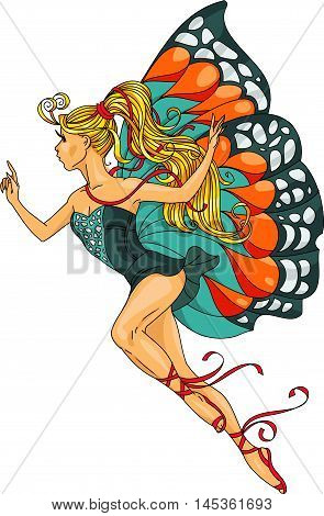 Hand drawn. Vector illustration. Cartoon. Beautiful girl in the form of butterflies.