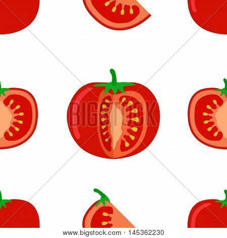 Tomato seamless pattern. Vector illustration of tomato and slices on a white background.