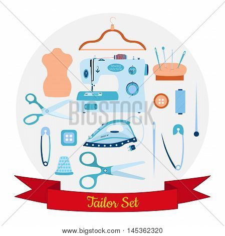 Vector set of objects for sewing, handicraft and taylor. Sewing tools and kit, equipment, needles, sewing machine, pin, iron, thread, hanger, thimble, manikin, scissors. Sew vector set.