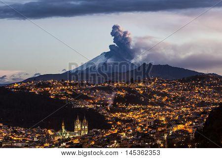 Cotopaxi volcano eruption seen from Quito Ecuador