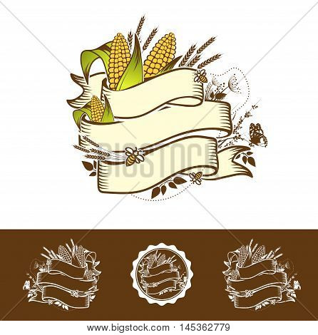 Agricultural Farm Name Ribbon Logo Design With Wheat and Corn
