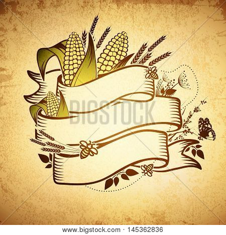 Agricultural Farm Name Ribbon Logo Design With Wheat and Corn at Grunge Background