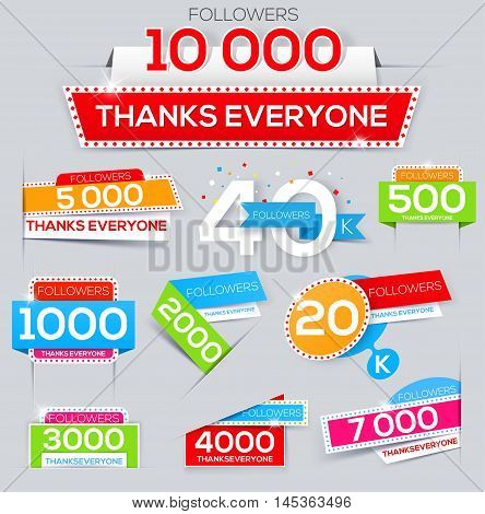 Set of thanks banner for network friends. Thank you followers. Follow Banner. Thank you card for followers. Followers labels
