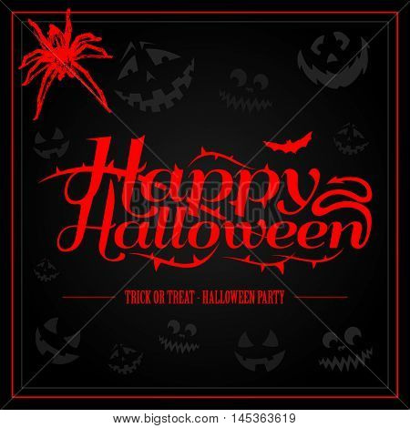 Happy Halloween creepy letters for greeting card