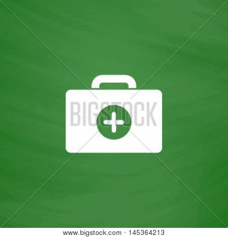first aid kit Simple line vector button. Imitation draw with white chalk on blackboard. Flat Pictogram and School board background. Outine illustration icon