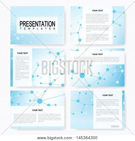 Set of vector templates for multipurpose presentation slides. Brochure, Leaflet, flyer, cover, magazine or annual report. Modern business, science, medicine design. Abstract background with molecule